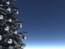 Shining Christmas. A very realistic Christmas tree in a starry night with silver decorations Royalty Free Stock Photography
