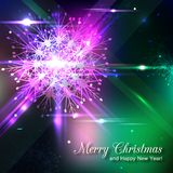 Shining christmas background. Shining christmas background with crystal snowflake and blurred bokeh lights. Vector illustration vector illustration