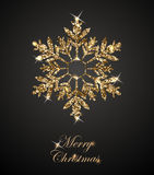 Shining Christmas Background with Shining Gold Snowflake. Merry Christmas card. Vector. Royalty Free Stock Photo