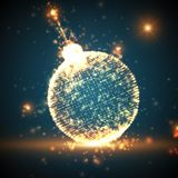 Shining Christmas ball on the blue background with glowing particles flying around. Abstract vector new year background. Stock Photography