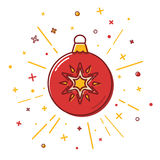 Christmas bauble icon in flat style Royalty Free Stock Image