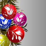 Shining Christmas baubles. Shining Christmas tree baubles, celebration card Stock Images
