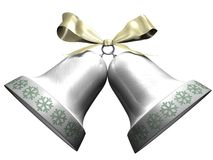 Shining Christmas bells with snowflakes Stock Photos