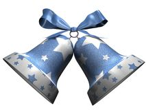 Shining Christmas bells with stars Royalty Free Stock Photos