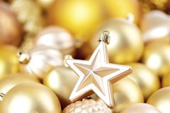 Shining christmas decorations for winter holidays, background stock photo