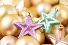 Shining christmas decorations for winter holidays, background royalty free stock images