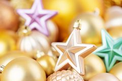 Shining christmas decorations for winter holidays, background stock photos