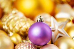 Shining christmas decorations for winter holidays, background stock images