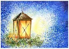 Shining christmas lantern on dark blue background stock illustration