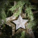 Shining Christmas stars on Christmas tree - Square composition Stock Photos