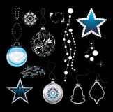 Shining Christmas toys on a black background stock images