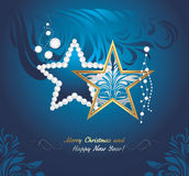 Shining Christmas toys on dark blue background. Greeting card Stock Photography