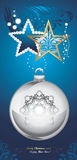 Shining Christmas toys on dark blue decorative background Stock Photography