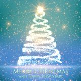 Shining christmas tree on blue background with backlight and glowing particles. Abstract vector background. Glowing fir-tree. Elegant shining background for Stock Image
