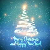Shining christmas tree on blue background with backlight and glowing particles. Abstract vector background. Glowing fir-tree. Elegant shining background for Stock Images