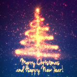 Shining christmas tree on blue background with backlight and glowing particles. Abstract vector background. Glowing fir-tree. Elegant shining background for Royalty Free Stock Photography