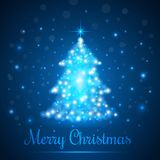 Shining Christmas Tree on Blue Background with Lights. Vector illustration.  Stock Images