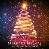 Shining christmas tree on colorful background with backlight and glowing particles. Abstract vector background. Glowing fir-tree. Elegant shining background Royalty Free Stock Photo
