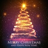Shining christmas tree on colorful background with backlight and glowing particles. Abstract vector background. Glowing fir-tree. Elegant shining background Royalty Free Stock Photography