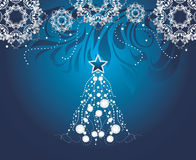 Shining Christmas tree on dark blue background with stylized snowflakes Stock Photos