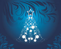 Shining Christmas tree on dark blue decorative background Stock Images