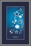 Shining Christmas tree in decorative frame. Postcard royalty free stock photos