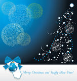 Shining Christmas tree and fireworks. Greeting card. Illustration Stock Photography