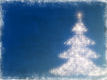 Shining christmas tree with frame in blue. Shining christmas tree drawn by white lights over blue background with frame Stock Image