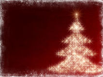 Shining christmas tree with frame in red. Shining christmas tree drawn by white lights over red background with frame Stock Images
