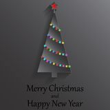 Shining Christmas tree with garland of lights. Xmas and New Year card. Royalty Free Stock Photos