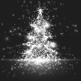 Shining christmas tree on monochrome background with backlight and glowing particles. Abstract vector background. Glowing fir-tree. Elegant shining background Royalty Free Stock Photos