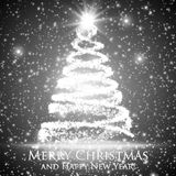Shining christmas tree on monochrome background with backlight and glowing particles. Abstract vector background. Glowing fir-tree. Elegant shining background Royalty Free Stock Images