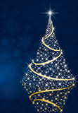 Shining Christmas tree and stars Stock Image