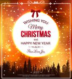 Shining christmas typographical background. Shining christmas typographical background with blurred snowflakes, bokeh lights, falling snow and place for text vector illustration