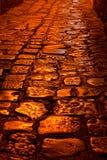 Shining Cobblestones. Closeup view of a cobblestone street at night Royalty Free Stock Photos