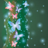 Shining colorful background with butterflies Stock Images