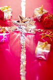 Shining colorful Christmas gifts. Christmas decorations, some beautiful colorful presents Stock Images