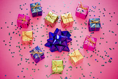 Shining colorful Christmas presents Royalty Free Stock Photo
