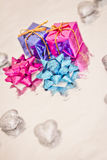 Shining colorful Christmas presents. Set of colorful Christmas gift decorations Stock Photos