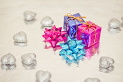 Shining colorful Christmas presents. Set of colorful Christmas gift decorations stock images