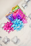 Shining colorful Christmas presents. Set of colorful Christmas gift decorations royalty free stock photos