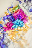 Shining colorful Christmas presents. Set of colorful Christmas gift decorations royalty free stock photo