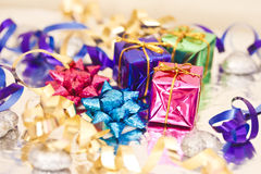 Shining colorful Christmas presents. Set of colorful Christmas gift decorations stock photography