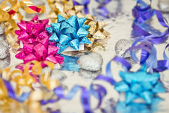 Shining colorful Christmas presents. Set of colorful Christmas gift decorations royalty free stock images