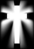 Shining cross. Divine cross with beams of light, shining in the dark stock illustration