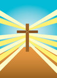 Shining Cross. Vector illustration of a wooden cross on a hill with light shining from behind it royalty free illustration