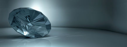 Shining crystal diamond on   blue background Royalty Free Stock Photography