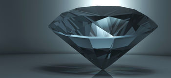 Shining crystal diamond. On a blue background royalty free illustration