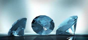 Shining crystal diamond on a blue background Royalty Free Stock Photography