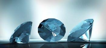 Shining crystal diamond on a blue background. 3D rendering shining crystal diamond on a blue background royalty free illustration